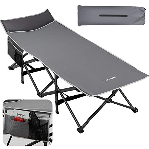 """Camabel Folding Camping Cots for Adults Heavy Duty 79""""x31"""" Extra Wide Potable Sleeping Cots for Adults Supports 400 LBS Cot Bed for Backpacking Travel Beach Office with Side Pocket and Carry Bag Grey"""