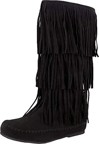 Pierre Dumas Womens Apache-4 Moccasin Fringe Boots,Black,8.5