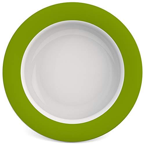 Ornamin Schale mit Kipp-Trick Ø 15,5 cm grün | Spezialteller mit Randerhöhung für selbstständiges Essen | Esshilfe, Melamin, Anti-Rutsch Schale, Tellerranderhöhung