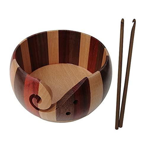 FNSAOM Tazón de hilo, hecho a mano de madera natural para hacer punto, cuencos de hilo de madera...