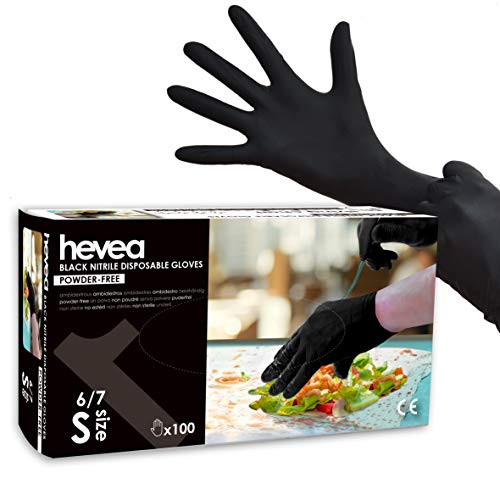 Hevea - Guantes de nitrilo desechables. Sin látex ni talco. Paquete de 5 cajas de 100 guantes cada una. Talla: S (pequeña). Color: Negro