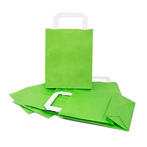 25 kleine grüne hellgrüne Papiertaschen Tüten Geschenktaschen mit Henkel 18 x 8 x 22 cm Tüten give-away Mitgebsel Geschenk-Verpackung Geschenktüten Ostertüten
