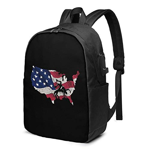 Lawenp American Flag Wrestling Laptop Backpack with USB Charging Port, Business Bag, Bookbag | Fits Most 17 Inch Laptops and Tablets