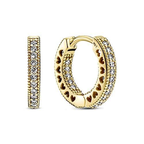 Pandora Pendientes de corazón Pavé de aleación chapada en oro de 14 quilates con circonitas de Pandora Signature Collection, 266317C01