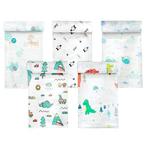 Koo-dib Bebe Recien Nacido,Mantas Envolventes muselina para bebés 80x80cm Toalla de baño para bebés de100%algodón absorbente y suave Paquete de 5 por Mantas Suaves de Lactancia Multiuso manta verano