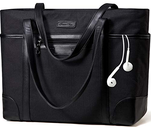 Laptop Bag for Women,ChaseChic Waterproof ClassicTeacher's Tote Bag 15.6in Computer Work Bags for Women with Luggage Strap(Black)