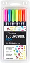 Tombow 56437 Fudenosuke Neon Brush Pen, 6-Pack. Hard Tip Fudenosuke Brush Pens in Assorted Neon Colors for Calligraphy and...
