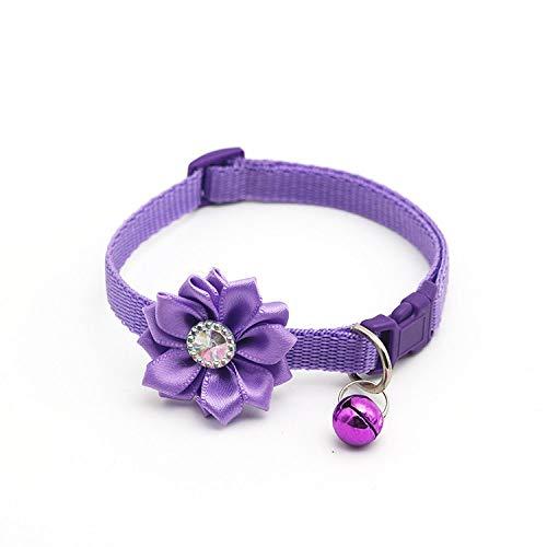 KTUCN Einstelllänge Pet Bell mit Blume Dog Cat Collar Schmuck Pet Collar Dog Zubehör, 8, S