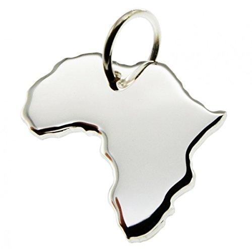 Anhänger Silber Landkarte AFRIKA - 925 Sterling Silber Kettenanhänger massiv für Damen Herren