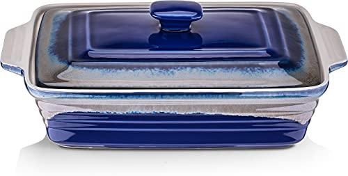 LOVECASA Fuente para Hornear con Tapa, Rectángulo Molde para Horno, Molde para Lasaña, Tarta, Pan, Guisos, Ceramica Esmaltada 4000 ml Azul