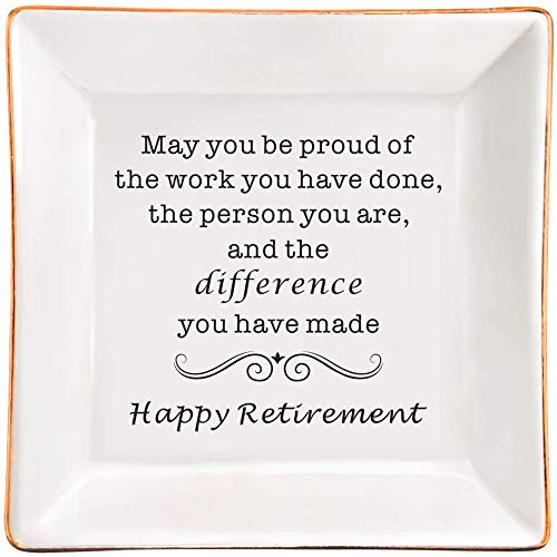 Retirement Gifts for Women, Retirement Appreciation Gift for Mom Boss Co-workers, Teachers, Nurse, Friends, Wife, Sister, Happy Retirement Ceramic Jewelry Trinket Dish
