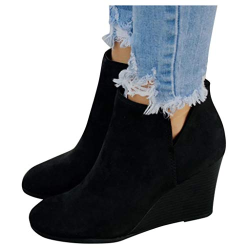 Women's Wedges Ankle Booties Retro V Cutout Comfy Short Boots Flock Leather Zip Closure Stacked Chunky Block Heels Shoes (Black, US 8/CN 39)