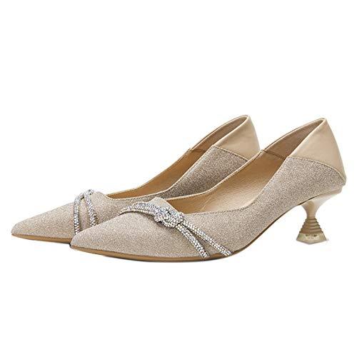 Mujeres Slip On Courts Zapatos Puntiagudos Clásicos Vestido de Noche Tacones Altos Tacón bajo Primavera Otoño Elegantes Bombas Elegantes