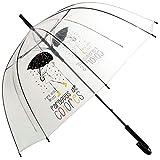TIENDA EURASIA® Paraguas Transparente - Diseño Lluvia de Colores - Frase para Días Grises Paraguas de Colores - Apertura Automática - ø85x84cm