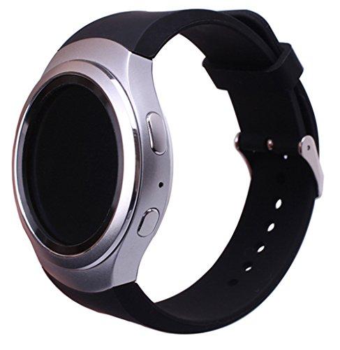 SUNDAREE Kompatibel mit Gear S2 Sport Armband,Silikon Schwarz Ersatzarmbänder Uhrband Uhrenarm Band Wrist Strap inkl. Adapter Silikonband für Samsung Gear S2 Sport SM-R730/SM-R720(Black Silikon)