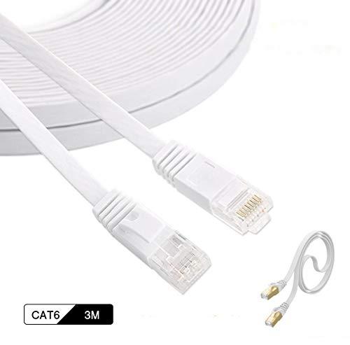 LANケーブル 3m Cat6 1000Mbps/250MHz 32AWG 有線lanケーブル、イーサネットケーブル ウルトラフラットケーブル ホワイト【SHOOTING】 (3m)