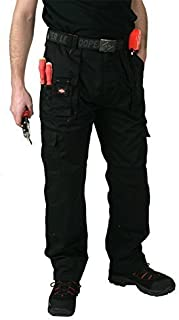 """Lee Cooper Cargo Pant Combat Trousers Black with Knee pad Pouches Waist 30 to 42 (Waist 40"""" Long 34""""/86cm)"""