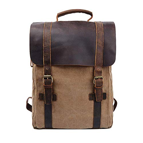 S-ZONE Vintage Canvas Leather Backpack 15.6 Inch Laptop School Bag Travel Rucksack(Khaki)