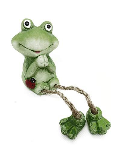 Soma Frühlings-Deko Kantensitzer Frosch, Kunstblume, Hängebrett aus Holz (Kantensitzer Frosch Marienkäfer Links beide Hände Oben 20 cm)