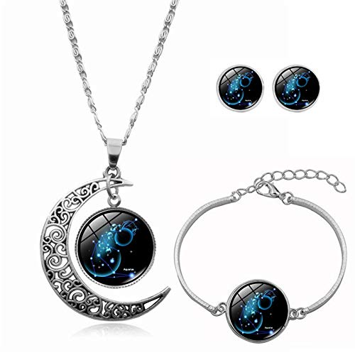 shengyijia Constellation Moon Necklace, 12 Constellation Sterling Silver Moon Necklace Horoscope Zodiac Astrology Crescent Glass Coin Pendant Gifts for Mom Presents Women Girls(Aquarius,Multicolor)