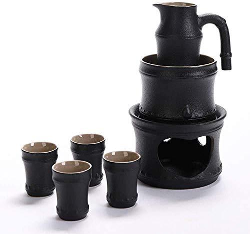 7-teiliges Sake-Set, schwarz glasiertes Bambus-Festival-Sake-Set mit wärmerem Topf und Kerzenherd, Sake-Serving-Geschenkset mit Verbrühungsgriff für traditionelles Sake-Geschenkset für kalt / warm / S