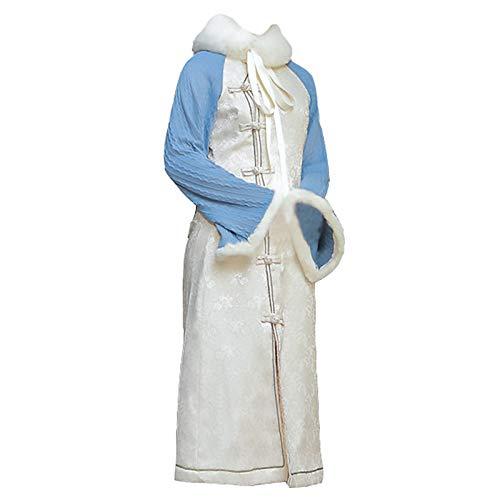 LRL Vestido Tradicional Cheongsam - Retro Diseño Sensiting Sensiting Engrosado Cheongsam Versión Mejora Vestido Invierno Chica Joven Falda Elegante y Hermoso (Color : Blue White, Size : Medium)