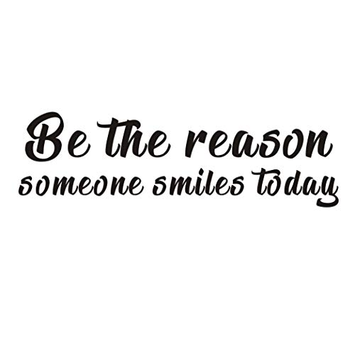 Inspirational Quote Wall Decal,Be The Reason Someone Smiles Today,Motivational Saying Positive Attitude Vinyl for Bedroom Living Room Classroom Decor,Black