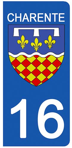DECO-IDEES 2 Stickers pour Plaque d'immatriculation - 16 - Blason CHARENTE - Stickers Garanti 5 Ans
