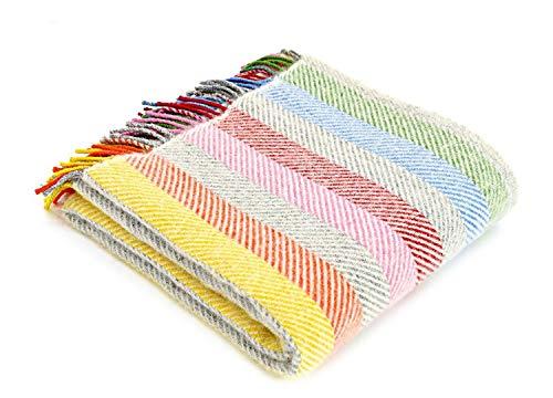 tweedmill Tagesdecke aus Reiner Schurwolle, gestreift, 150 x 183 cm, Regenbogengrau