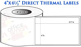 OfficeSmartLabels ZE3400612 Industrial 4 x 6.5 Inch Direct Thermal Labels, Compatible with Zebra Printers (20 Rolls, White, 900 Labels Per Roll, 3 inch Core)