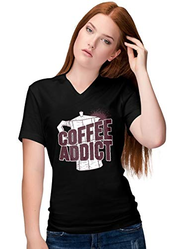 BLAK TEE Damen Coffee Addict with Kettle Illustration V-Neck T-Shirt XL