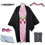 kelihood Disfraz de cosplay de anime japonés, kimetsu no Yaiba Nezuko Kamado, disfraz de kimono con peluca, adecuado para exposiciones de cómics