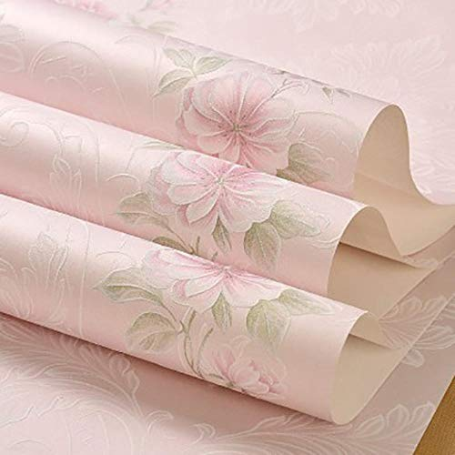 XPYpaper-Tapete warm romantisch europäisch pastoral 3D kleine Blumen Vlies Wandsticker Wohnzimmer Schlafzimmer Hintergrundwand 53X950cm (21X374in) Dunkelrosa