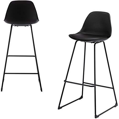 E-starain 2x Taburete de Bar Sillas Altas con Respaldo Silla acolchada tapizada en Piel sintética Taburete Alto Cocina con Patas de Metal Negro