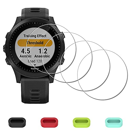 Protector de pantalla para Garmin Forerunner 945 Running Triatlón Smartwatch + tapones de silicona antipolvo, iDaPro vidrio templado antiarañazos, sin burbujas