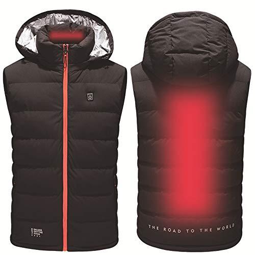 Roboraty Slim vest met vest, USB-oplaad- en verwarmingsjas, 3 temperatuurregelaars, warmhouden, capuchonvest, voor heren, winter outdoor-sporten, wandelen, jagen en kamperen 4XL oranje