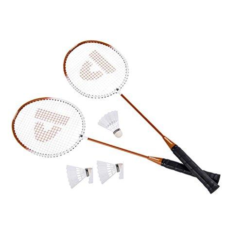 DWT-Germany 100456 6 Teilig Badminton Set Badminton Set 2x Bädmintonschläger Badminton Schläger Set mit 3x Federball Bälle