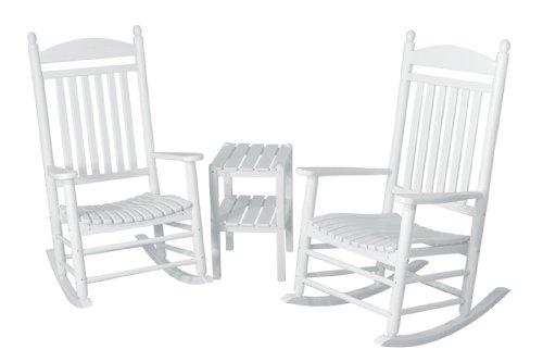 Hot Sale POLYWOOD PWS140-1-WH Jefferson 3-Piece Rocker Chair Set, White