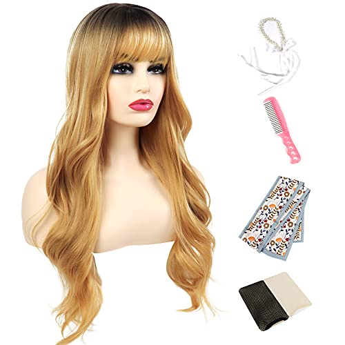 Koswiggle Blonde Curly Wig with Bangs Long Wavy Ombre Wigs for Women Include 2 Hair Accessories, for Daily, Cosplay, Party, Halloween Wig (28'',Ombre Blonde)