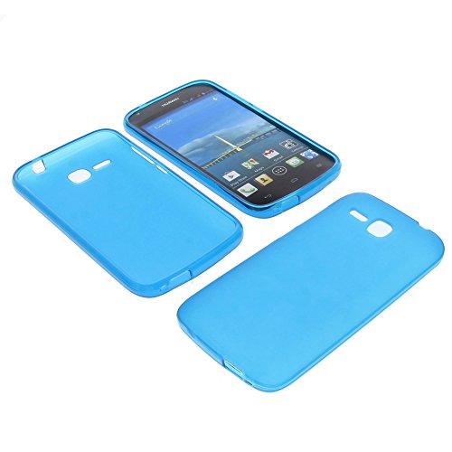 foto-kontor Tasche für Huawei Ascend Y600 Gummi TPU Schutz Hülle Handytasche blau