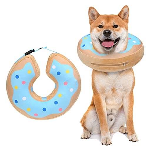 bingpet dog harness for cars BINGPET Dog Inflatable Recovery Collar - Soft Pet Surgery Collar for Dogs & Cats, Comfortable Protective E Collar Prevent from Licking, Biting Wound, Cute Donut Design