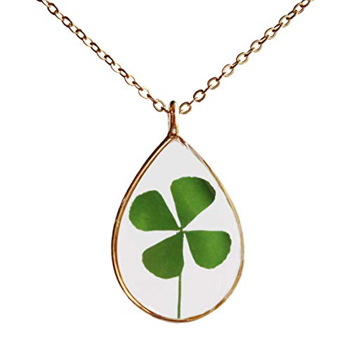 SI EASY Shamrock Necklace Four Leaf Clover Necklace Pressed Flower Necklace Real Dried Flower Resin Jewellery