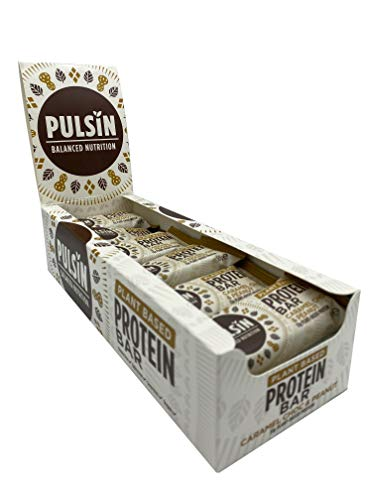 Pulsin Healthy Snack Natural Plant Based Vegan Free From Caramel Choc Protein Bar 18x50g