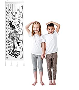 PRACTICAL; This canvas growth chart from Luh Kei Baby tracks your child's height from 2 feet to 5 feet high; With metric measurements on one side and feet and inches on the other, this clever growth chart for kids is the ideal height measuring instru...