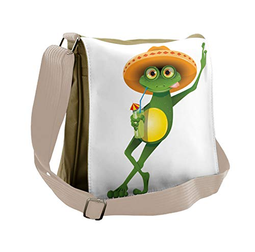 Lunarable Cartoon Messenger Bag, Frog in a Sombrero Mexican, Unisex Cross-body