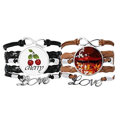 Bestchong Japanischer Stil Blätter Pavillon-Armband, Handschlaufe, Lederseil, Kirschen-Liebesarmband, Doppelset