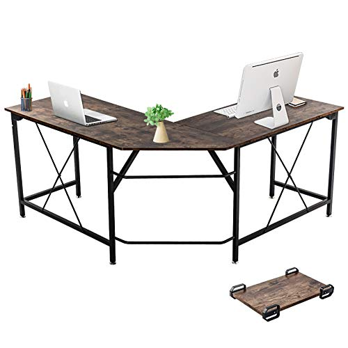 Dawoo L-förmiger Schreibtisch, Gaming-Computer-Eckschreibtisch PC Studio Table Workstation für das Home Office, 140 cm (L) * 50 cm (B) * 75 cm (H)(Braun B)