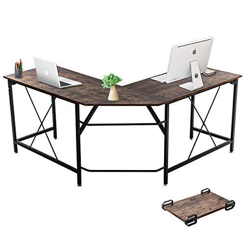 Dawoo Escritorio En Forma De L, Gaming Computer Corner Desk Pc Studio Table Workstation para Home Office, 140 Cm (L) * 50 Cm (W) * 75 Cm (H) (Marrón B)