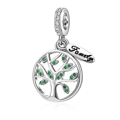 SoulBeads Christams Sterling Silver Family Tree of Life Dangling Bead Charm with Green CZ Fits Pandora Charms Bracelet by Fits Pandora charms bracelet