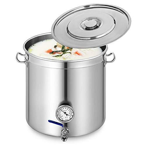 OUKANING Olla de acero inoxidable de 98 L, con tapa, termómetro y grifo, olla para gulasch y guisos.